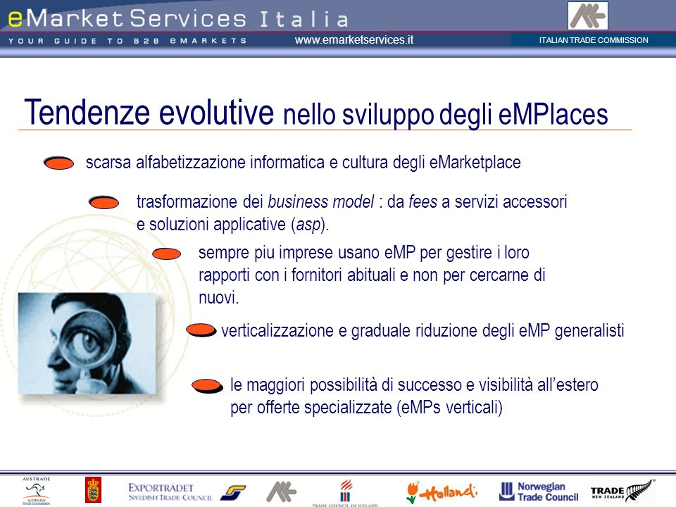 ITALIAN TRADE COMMISSION www.emarketservices.it trasformazione dei business model : da fees a servizi accessori e soluzioni applicative ( asp ).