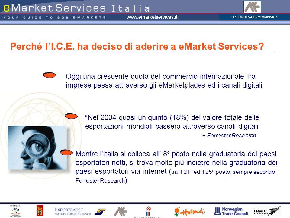 ITALIAN TRADE COMMISSION www.emarketservices.it Perché lI.C.E. ha deciso di aderire a eMarket Services? Oggi una crescente quota del commercio interna