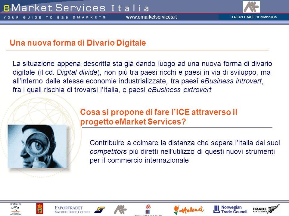 ITALIAN TRADE COMMISSION www.emarketservices.it La situazione appena descritta sta già dando luogo ad una nuova forma di divario digitale (il cd. Digi