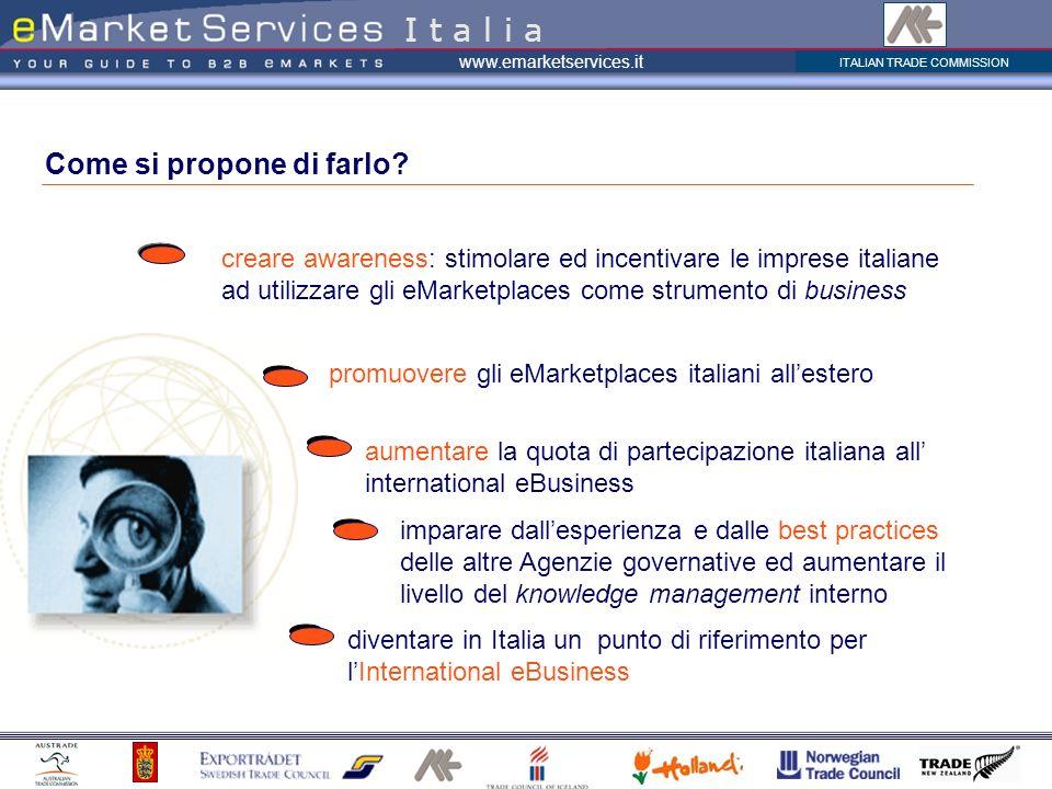 ITALIAN TRADE COMMISSION www.emarketservices.it Come si propone di farlo? creare awareness: stimolare ed incentivare le imprese italiane ad utilizzare