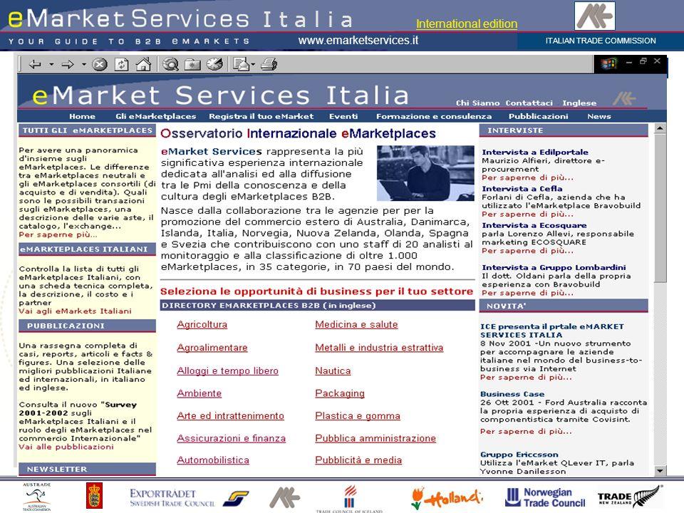 ITALIAN TRADE COMMISSION www.emarketservices.it eMarket Services Italia eMarket Services rappresenta la più significativa esperienza internazionale de