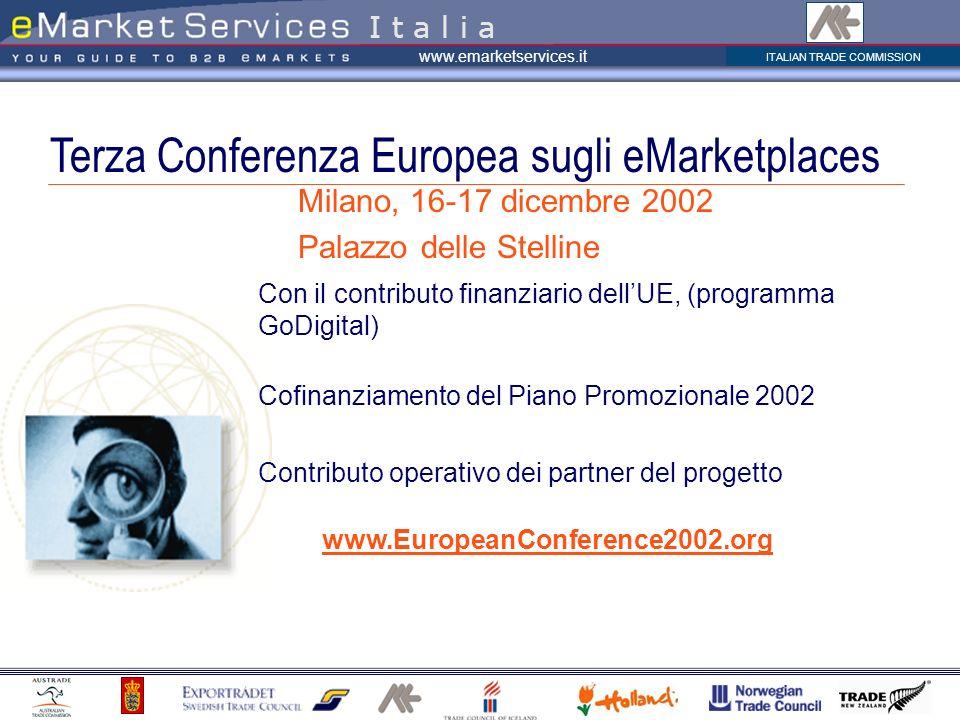 ITALIAN TRADE COMMISSION www.emarketservices.it Terza Conferenza Europea sugli eMarketplaces I t a l i a Con il contributo finanziario dellUE, (progra