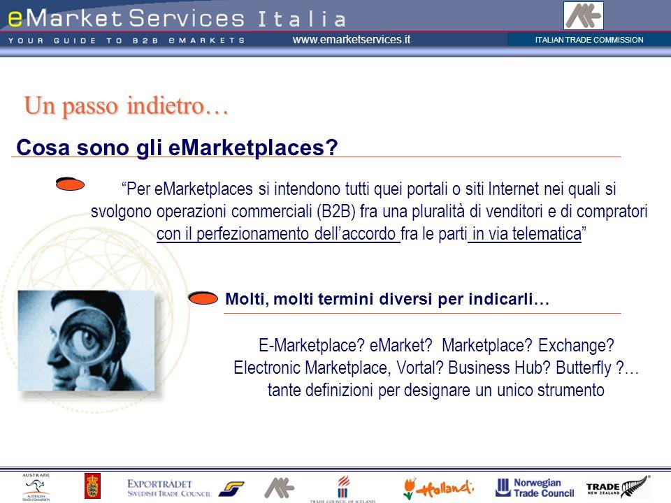 ITALIAN TRADE COMMISSION www.emarketservices.it Cosa sono gli eMarketplaces? Un passo indietro… I t a l i a Per eMarketplaces si intendono tutti quei