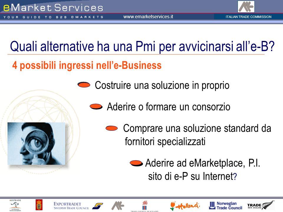 ITALIAN TRADE COMMISSION www.emarketservices.it 4 possibili ingressi nelle-Business Costruire una soluzione in proprio Aderire o formare un consorzio Comprare una soluzione standard da fornitori specializzati Aderire ad eMarketplace, P.I.