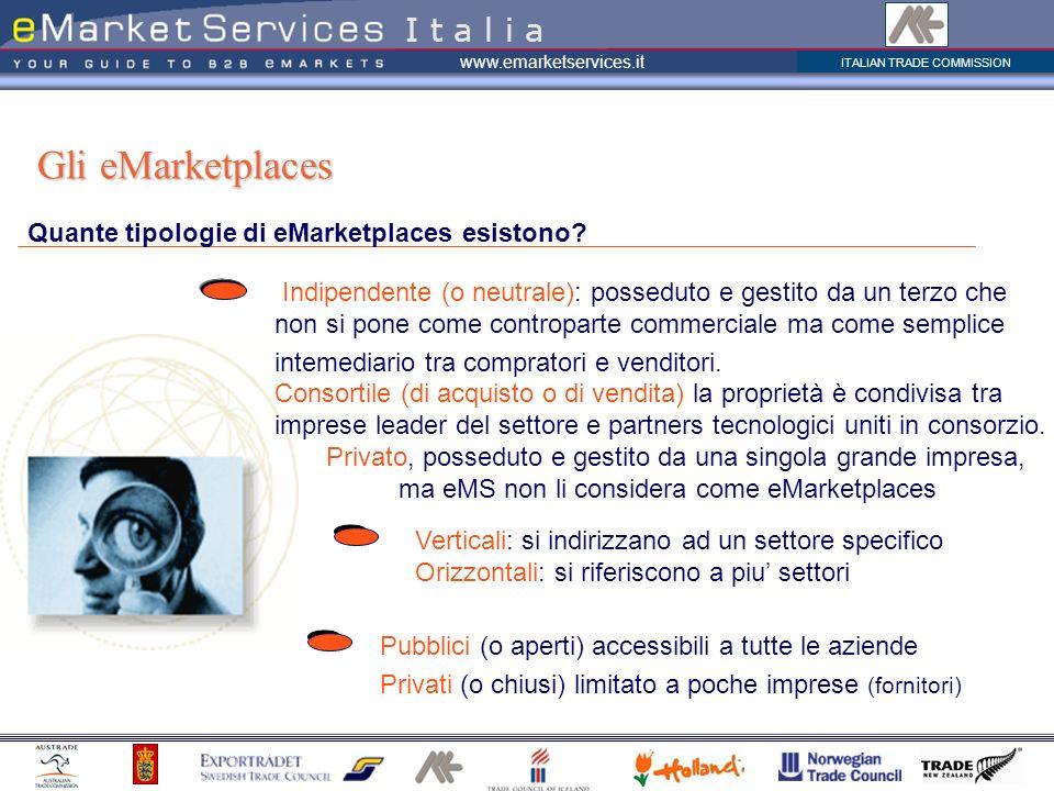 ITALIAN TRADE COMMISSION www.emarketservices.it Quante tipologie di eMarketplaces esistono? Gli eMarketplaces Indipendente (o neutrale): posseduto e g