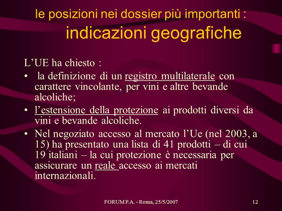 FORUM P.A. - Roma, 25/5/200712 le posizioni nei dossier più importanti : indicazioni geografiche LUE ha chiesto : la definizione di un registro multil