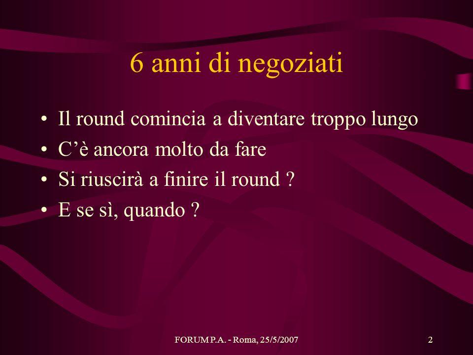 FORUM P.A. - Roma, 25/5/20072 6 anni di negoziati Il round comincia a diventare troppo lungo Cè ancora molto da fare Si riuscirà a finire il round ? E