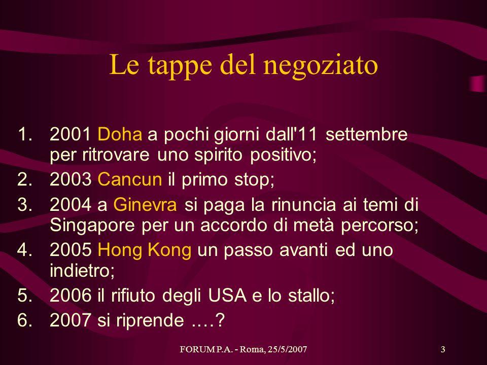 FORUM P.A. - Roma, 25/5/20073 Le tappe del negoziato 1.2001 Doha a pochi giorni dall'11 settembre per ritrovare uno spirito positivo; 2.2003 Cancun il