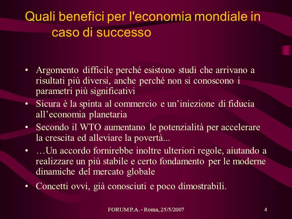 FORUM P.A. - Roma, 25/5/20074 Quali benefici per l'economia mondiale in caso di successo Argomento difficile perché esistono studi che arrivano a risu