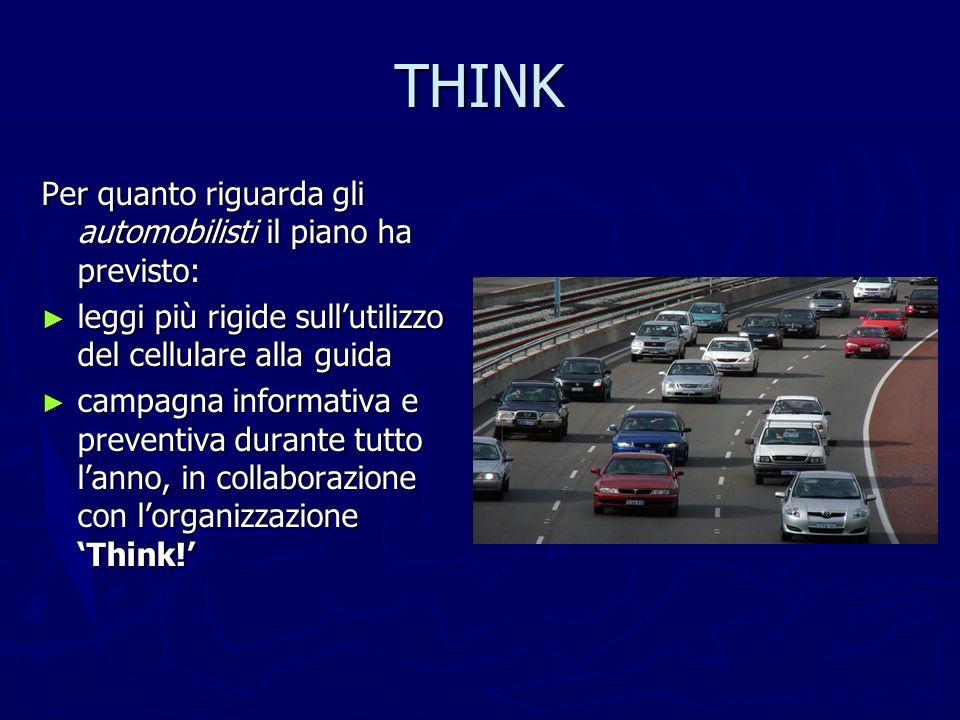 THINK Per quanto riguarda gli automobilisti il piano ha previsto: leggi più rigide sullutilizzo del cellulare alla guida leggi più rigide sullutilizzo
