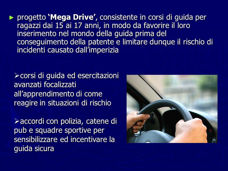 progetto Mega Drive, consistente in corsi di guida per ragazzi dai 15 ai 17 anni, in modo da favorire il loro inserimento nel mondo della guida prima