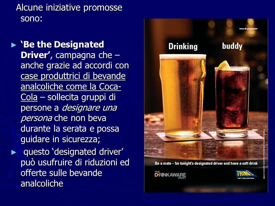 Alcune iniziative promosse sono: Alcune iniziative promosse sono: Be the Designated Driver, campagna che – anche grazie ad accordi con case produttric