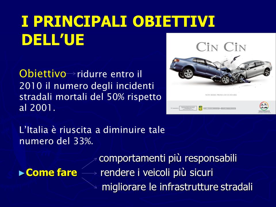 comportamenti più responsabili comportamenti più responsabili Come fare rendere i veicoli più sicuri Come fare rendere i veicoli più sicuri migliorare