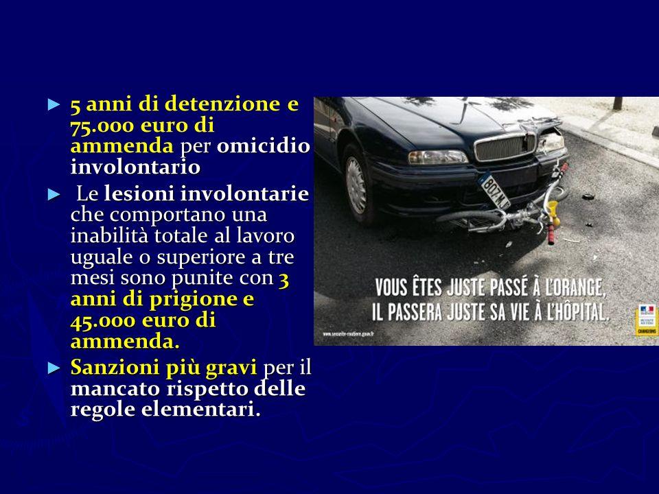 per omicidio involontario 5 anni di detenzione e 75.000 euro di ammenda per omicidio involontario Le lesioni involontarie che comportano una inabilità