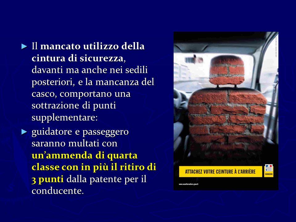 Il mancato utilizzo della cintura di sicurezza, davanti ma anche nei sedili posteriori, e la mancanza del casco, comportano una sottrazione di punti s