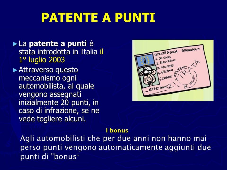 La patente a punti è stata introdotta in La patente a punti è stata introdotta in Italia il 1° luglio 2003 ttraverso questo meccanismo ogni automobili