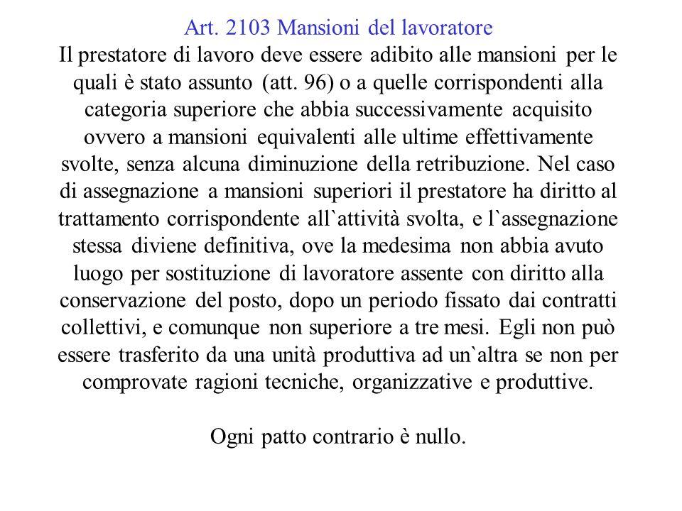 Art. 2103 Mansioni del lavoratore Il prestatore di lavoro deve essere adibito alle mansioni per le quali è stato assunto (att. 96) o a quelle corrispo