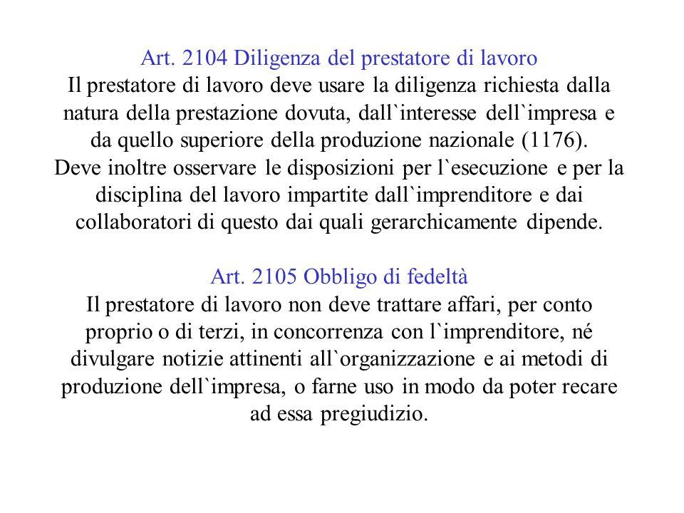 Art. 2104 Diligenza del prestatore di lavoro Il prestatore di lavoro deve usare la diligenza richiesta dalla natura della prestazione dovuta, dall`int
