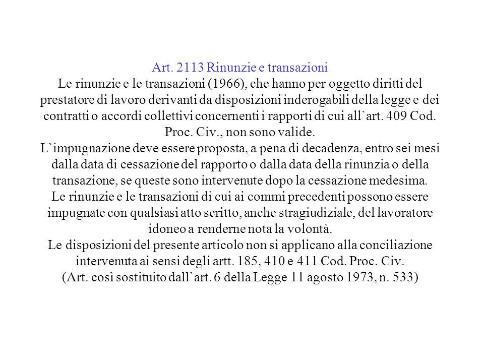 Art. 2113 Rinunzie e transazioni Le rinunzie e le transazioni (1966), che hanno per oggetto diritti del prestatore di lavoro derivanti da disposizioni