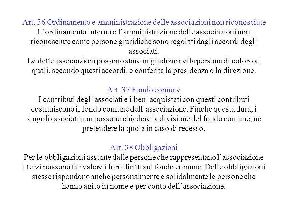 Art. 36 Ordinamento e amministrazione delle associazioni non riconosciute L`ordinamento interno e l`amministrazione delle associazioni non riconosciut