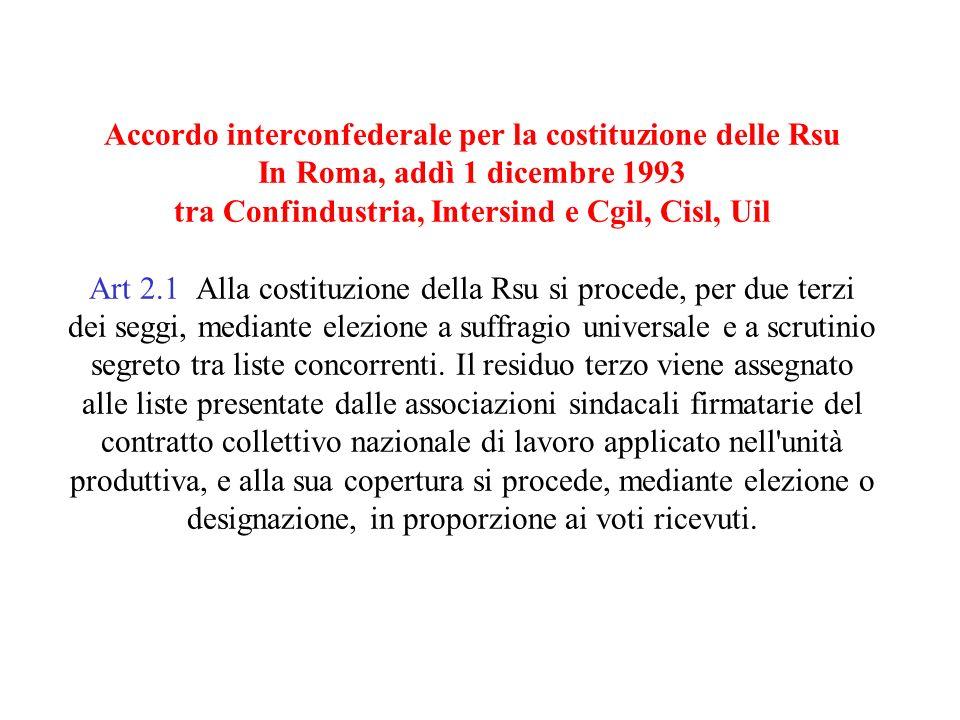 Accordo interconfederale per la costituzione delle Rsu In Roma, addì 1 dicembre 1993 tra Confindustria, Intersind e Cgil, Cisl, Uil Art 2.1 Alla costituzione della Rsu si procede, per due terzi dei seggi, mediante elezione a suffragio universale e a scrutinio segreto tra liste concorrenti.