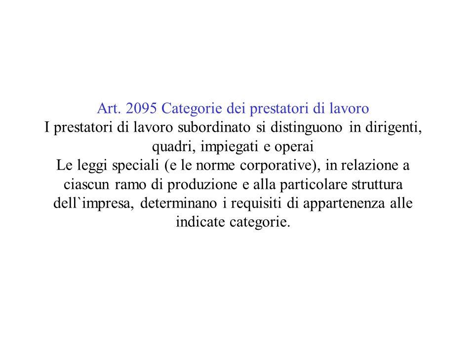 Art. 2095 Categorie dei prestatori di lavoro I prestatori di lavoro subordinato si distinguono in dirigenti, quadri, impiegati e operai Le leggi speci