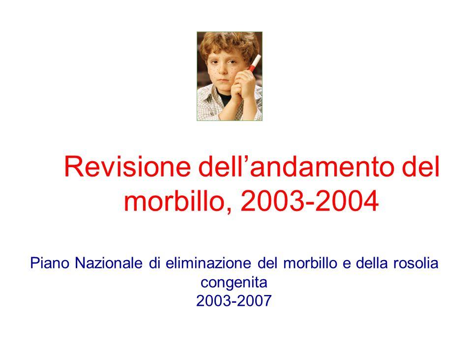 Revisione dellandamento del morbillo, 2003-2004 Piano Nazionale di eliminazione del morbillo e della rosolia congenita 2003-2007