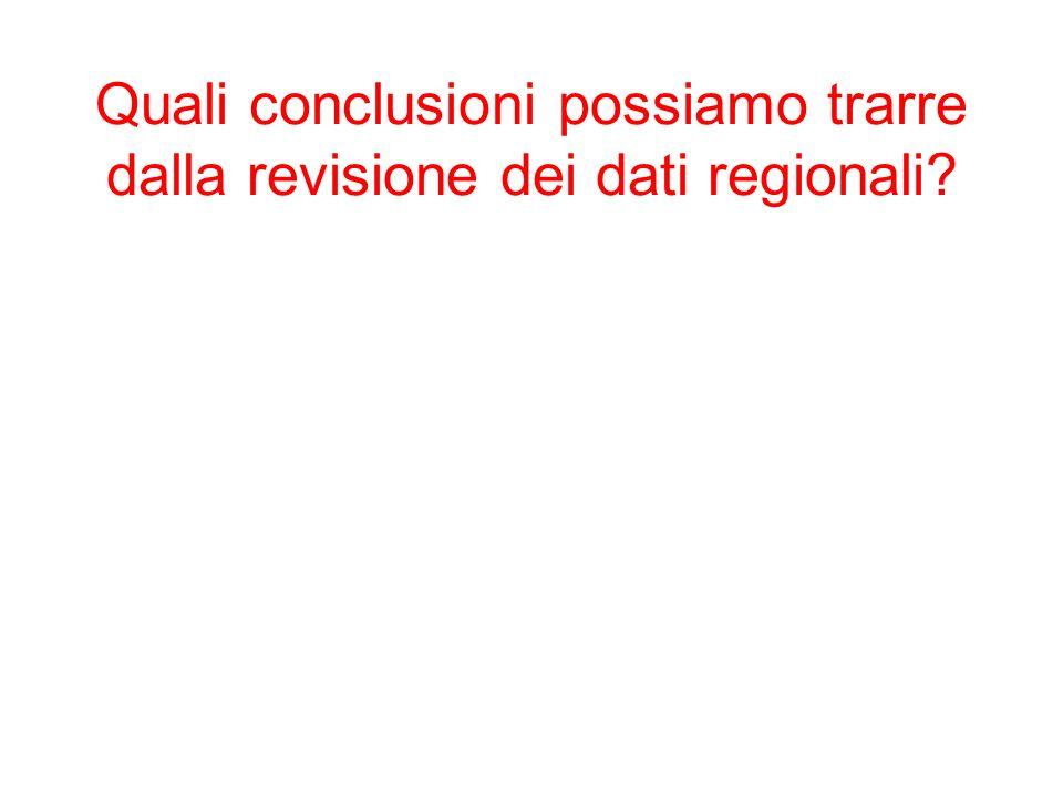 Quali conclusioni possiamo trarre dalla revisione dei dati regionali?
