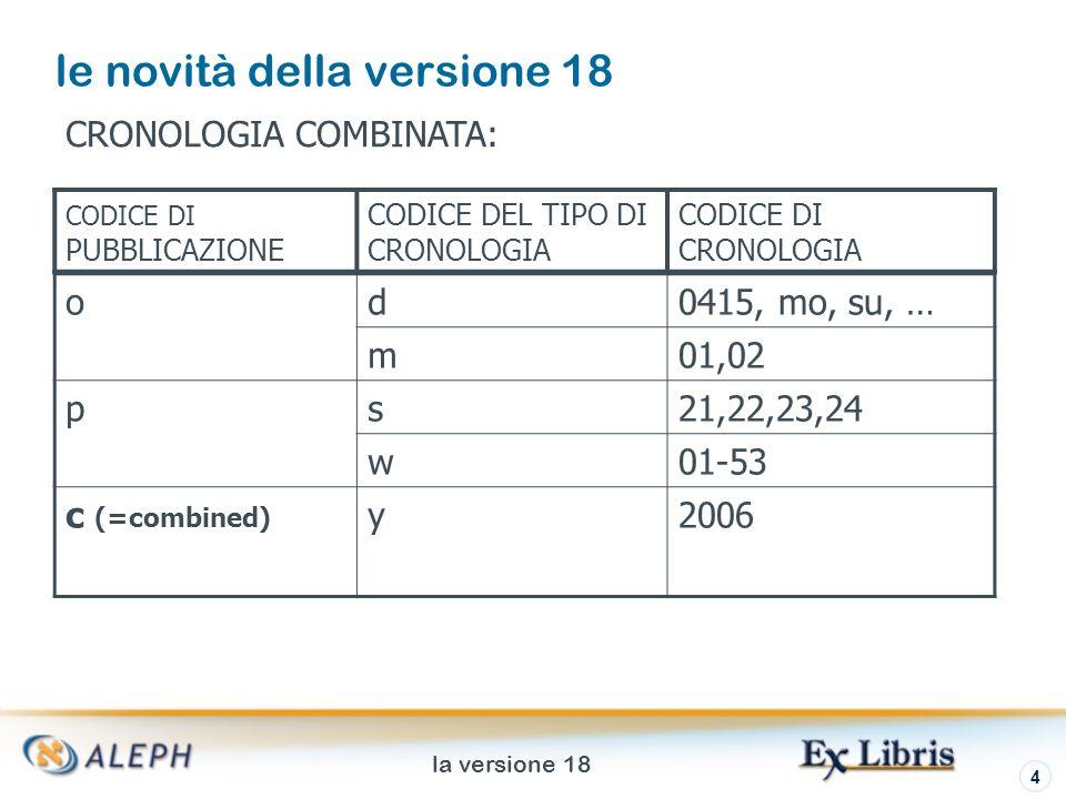 la versione 18 5 le novità della versione 18 CRONOLOGIA COMBINATA: