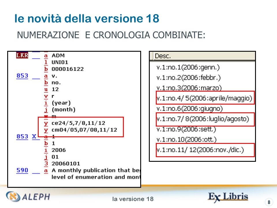 la versione 18 9 le novità della versione 18 DB L LOCAL SYSID L 0 FMT L AD LDR L ^^^^^nam^a22^^^^^^u^4500 853 L $$av.$$bno.$$u12$$vr$$i(year)$$j(month)$$wm$$yce24/5,7/8,11 /12$$ycm04/05,07/08,11/12 853X L $$a1$$b1$$i2006$$j01$$320060101 590 L $$aA monthly publication that begins with v.1:no.1(2006:Jan.) and combines issues in second level of enumeration and months.