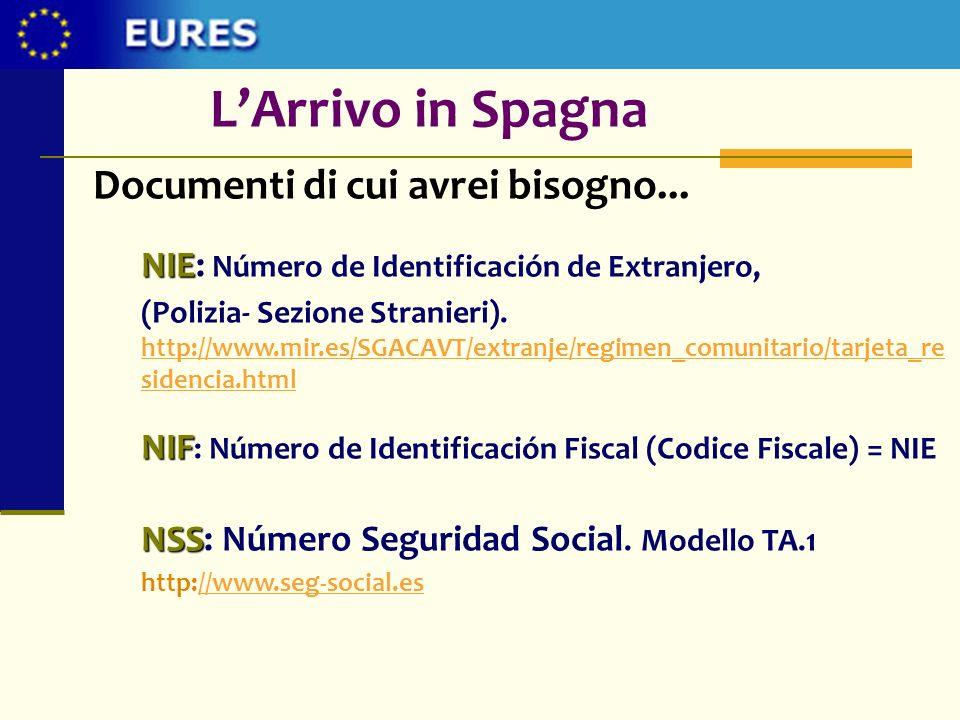 Documenti di cui avrei bisogno... NIE NIE: Número de Identificación de Extranjero, (Polizia- Sezione Stranieri). http://www.mir.es/SGACAVT/extranje/re