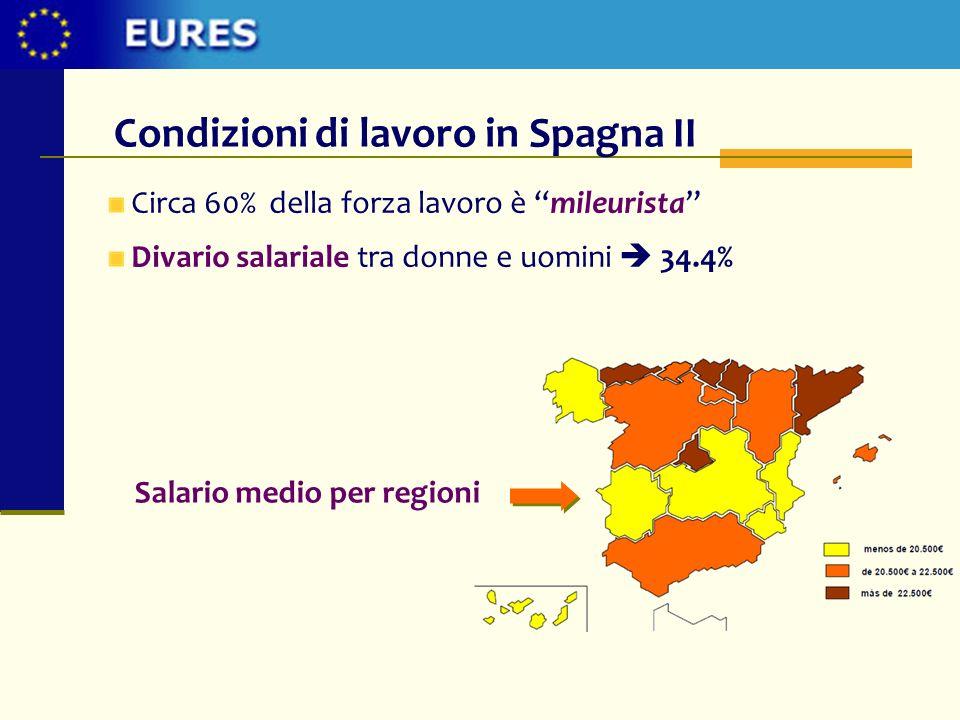 Circa 60% della forza lavoro è mileurista Divario salariale tra donne e uomini 34.4% Condizioni di lavoro in Spagna II Salario medio per regioni