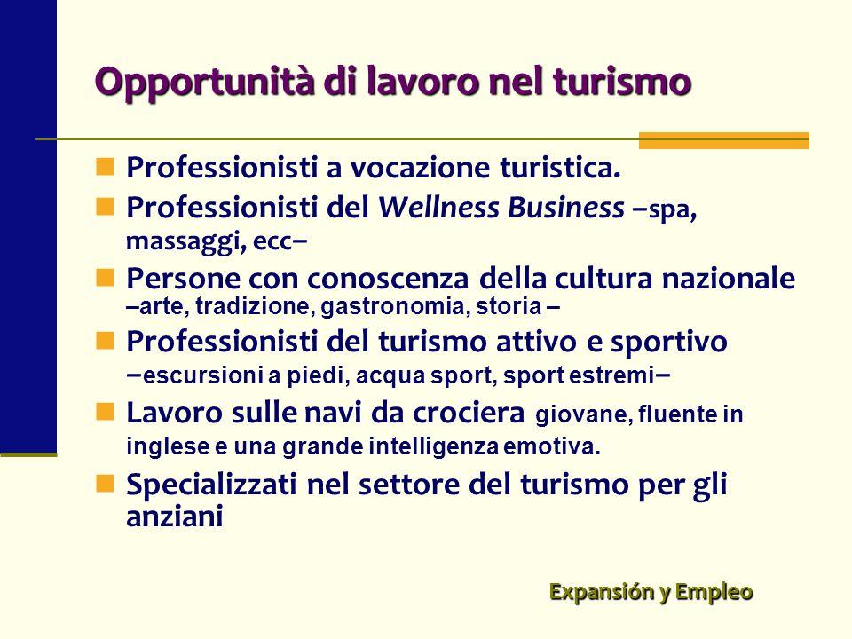 Opportunità di lavoro nel turismo Professionisti a vocazione turistica. Professionisti del Wellness Business – spa, massaggi, ecc – Persone con conosc