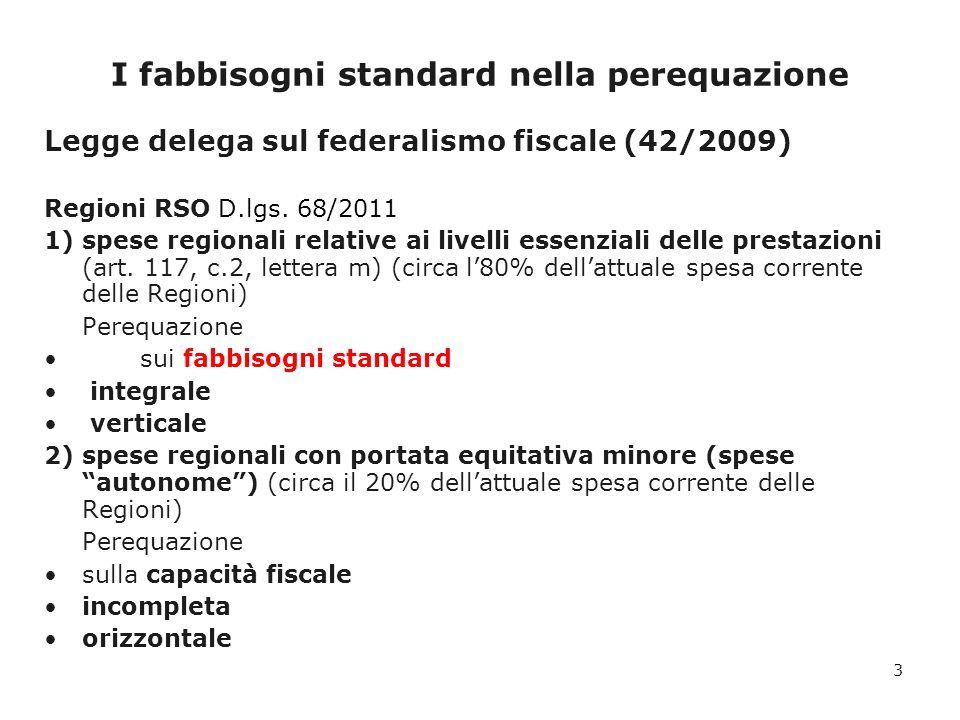 I fabbisogni standard nella perequazione Legge delega sul federalismo fiscale (42/2009) Comuni D.lgs.