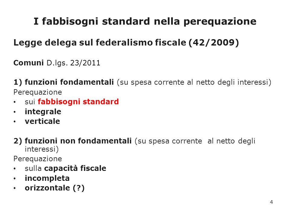 I fabbisogni standard dei Comuni per la polizia locale: i risultati 25 Classi dimensionaliNumerosità Popolazione al 31/12/2009 Spesa corrente utilizzata per la stima dei fabbisogni standard % del totale (A) Fabbisogno Standard % del totale (B) Differenza % (B-A)/A Meno di 500 Abitanti692202.8710,26650,326622,6 500 - 999 Abitanti886657.8910,89090,984610,5 1.000 - 1.999 Abitanti1.3011.902.8152,41092,58497,2 2.000 - 2.999 Abitanti8071.978.4022,54092,5138-1,1 3.000 - 4.999 Abitanti9673.774.8314,48554,78626,7 5.000 - 9.999 Abitanti1.0177.227.9058,92969,37154,9 10.000 - 19.999 Abitanti5998.282.38811,499611,52720,2 20.000 - 59.999 Abitanti34711.397.43918,355018,0019-1,9 60.000 - 99.999 Abitanti503.863.3387,64937,5234-1,6 100.000 - 249.999 Abitanti263.811.7858,71098,3885-3,7 250.000 - 499.999 Abitanti51.601.5475,39255,1284-4,9 Oltre 500.000 Abitanti56.533.51528,868428,8628-0,0 6.70251.234.727100,0000 0,0