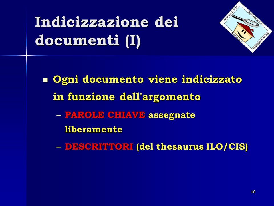 10 Indicizzazione dei documenti (I) Ogni documento viene indicizzato in funzione dell'argomento Ogni documento viene indicizzato in funzione dell'argo