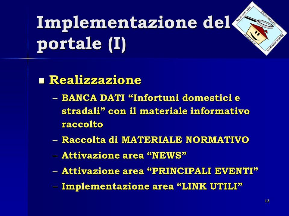 13 Implementazione del portale (I) Realizzazione Realizzazione – BANCA DATI Infortuni domestici e stradali con il materiale informativo raccolto – Rac