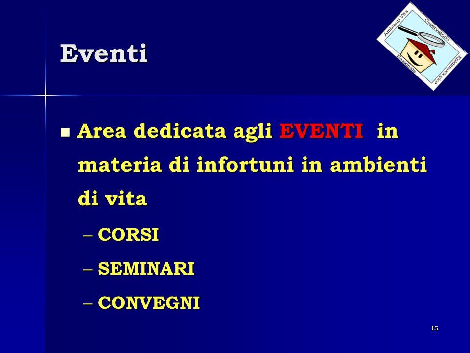 15 Eventi Area dedicata agli EVENTI in materia di infortuni in ambienti di vita Area dedicata agli EVENTI in materia di infortuni in ambienti di vita