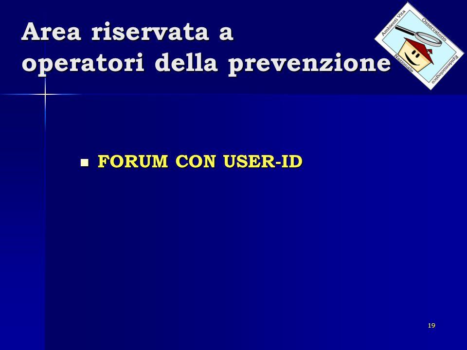 19 Area riservata a operatori della prevenzione FORUM CON USER-ID FORUM CON USER-ID