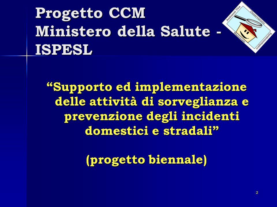 2 Progetto CCM Ministero della Salute - ISPESL Supporto ed implementazione delle attività di sorveglianza e prevenzione degli incidenti domestici e st