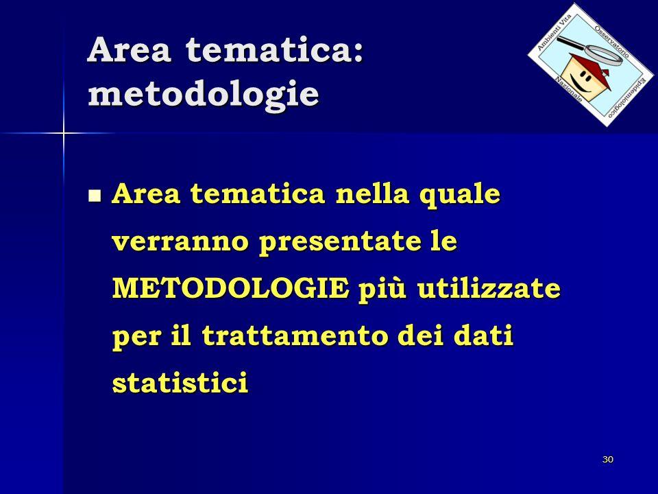 30 Area tematica: metodologie Area tematica nella quale verranno presentate le METODOLOGIE più utilizzate per il trattamento dei dati statistici Area