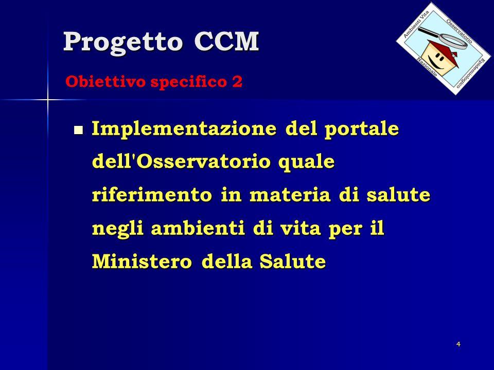 4 Progetto CCM Implementazione del portale dell'Osservatorio quale riferimento in materia di salute negli ambienti di vita per il Ministero della Salu