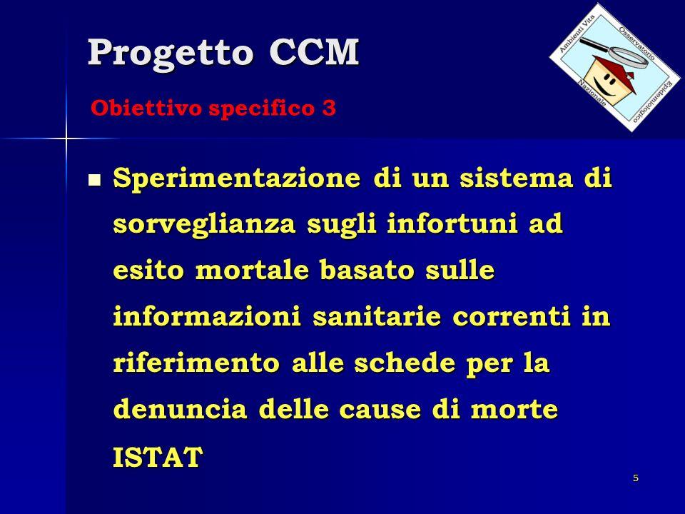 5 Progetto CCM Sperimentazione di un sistema di sorveglianza sugli infortuni ad esito mortale basato sulle informazioni sanitarie correnti in riferime
