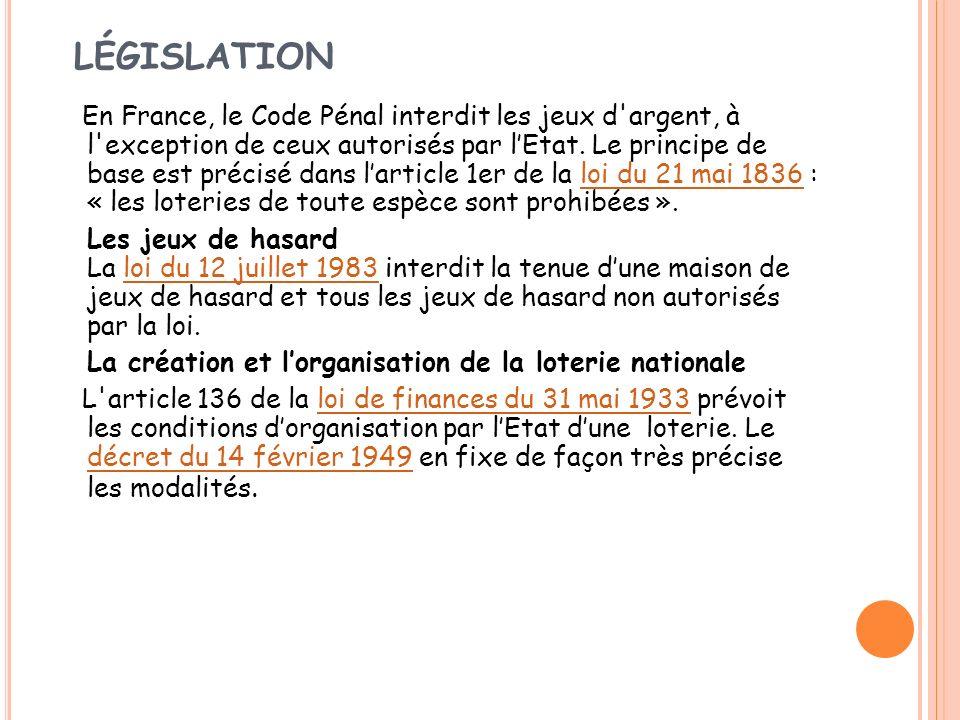LÉGISLATION En France, le Code Pénal interdit les jeux d'argent, à l'exception de ceux autorisés par lEtat. Le principe de base est précisé dans larti