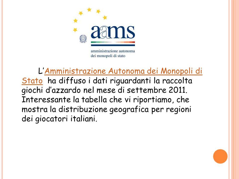 LAmministrazione Autonoma dei Monopoli di Stato ha diffuso i dati riguardanti la raccolta giochi dazzardo nel mese di settembre 2011. Interessante la