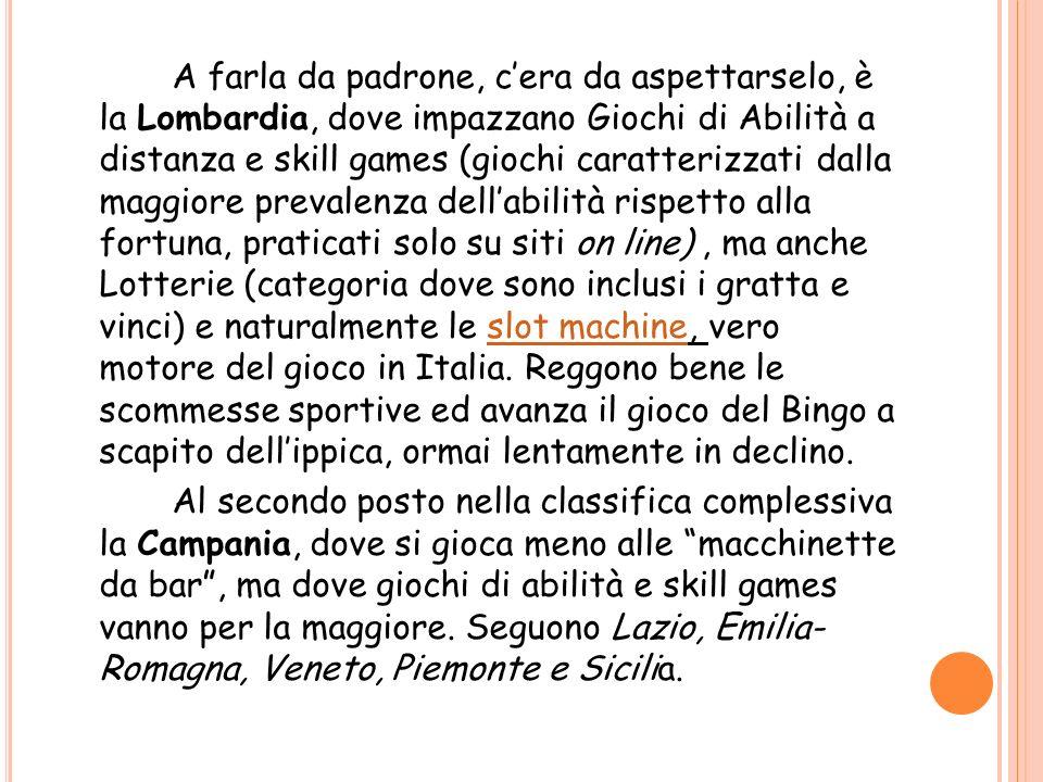 A farla da padrone, cera da aspettarselo, è la Lombardia, dove impazzano Giochi di Abilità a distanza e skill games (giochi caratterizzati dalla maggi