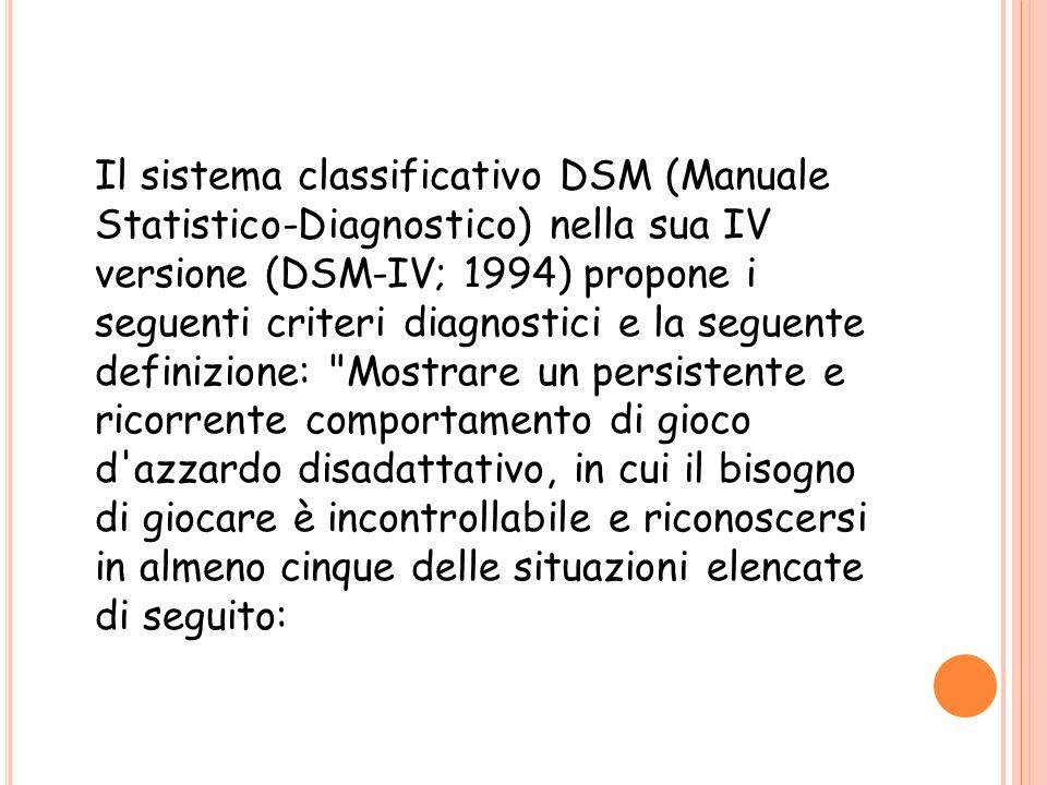 Il sistema classificativo DSM (Manuale Statistico-Diagnostico) nella sua IV versione (DSM-IV; 1994) propone i seguenti criteri diagnostici e la seguen