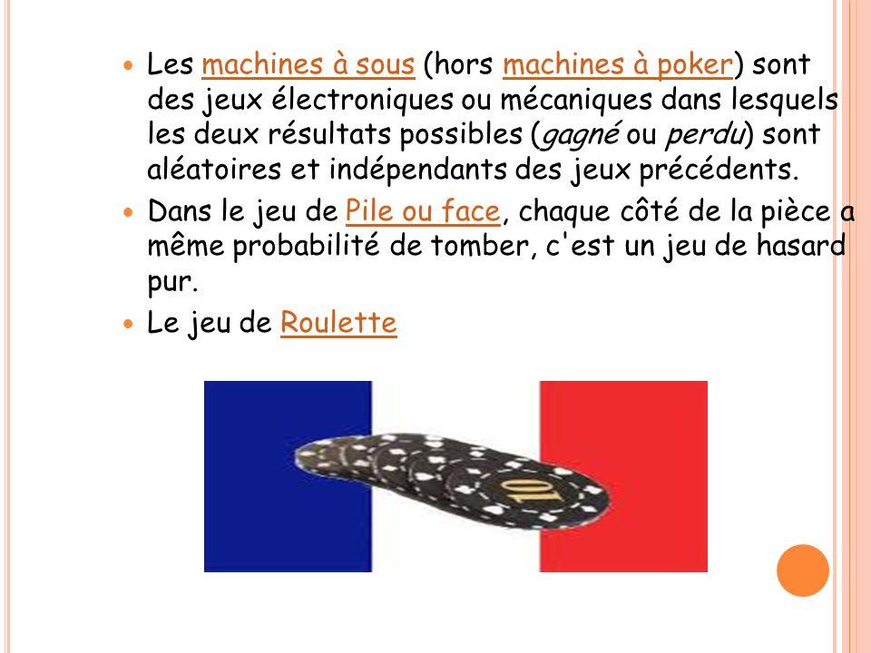 Les machines à sous (hors machines à poker) sont des jeux électroniques ou mécaniques dans lesquels les deux résultats possibles (gagné ou perdu) sont