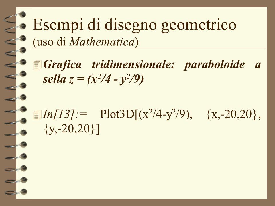 Esempi di disegno geometrico (uso di Mathematica) 4 Grafica tridimensionale: paraboloide a sella z = (x 2 /4 - y 2 /9) 4 In[13]:= Plot3D[(x 2 /4-y 2 /