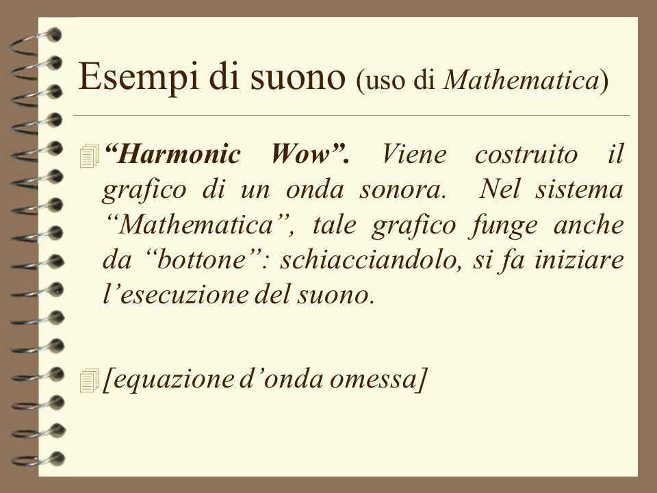Esempi di suono (uso di Mathematica) 4 Harmonic Wow. Viene costruito il grafico di un onda sonora. Nel sistema Mathematica, tale grafico funge anche d